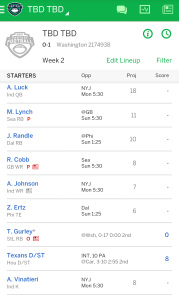 My Fantasy Football team starting lineup.
